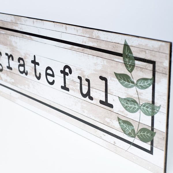 grateful | wood-finish plaque