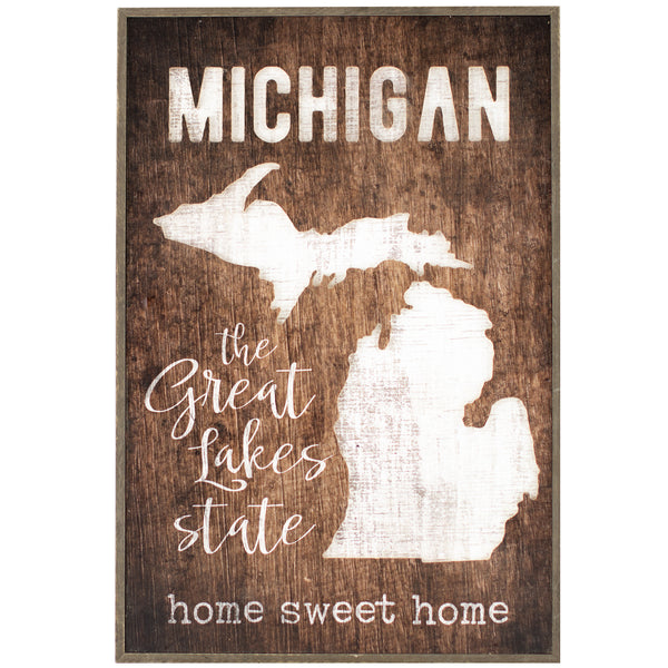 michigan cut-out | wood-framed sign