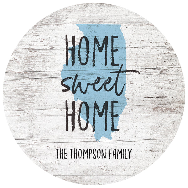 home sweet home illinois | personalized name plaque