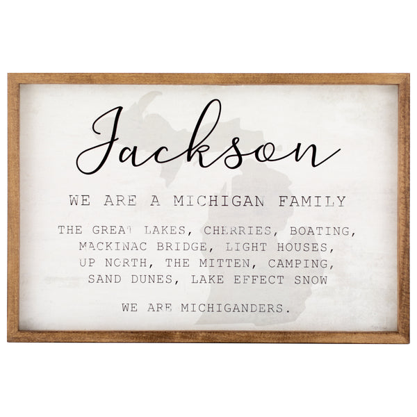 michigan family | personalized name sign