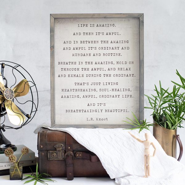 life is amazing | wood-framed sign