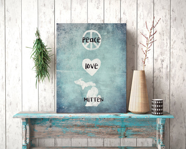 peace love mitten | michigan box frame