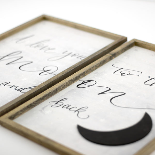 love you to the moon | wood-framed sign set