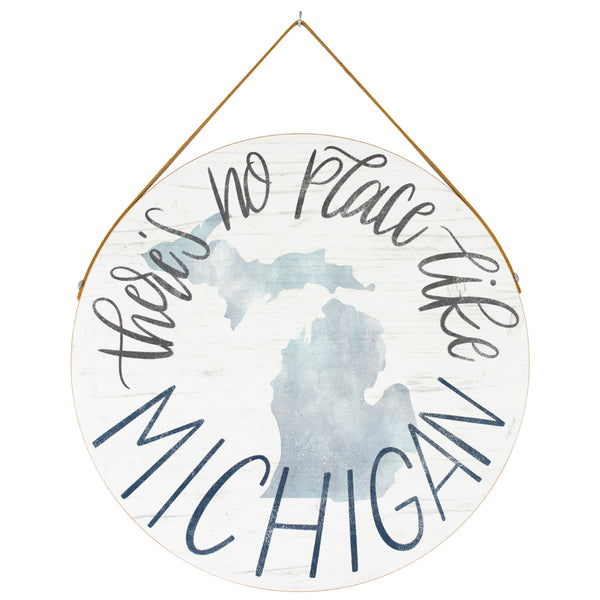 no place like michigan | round plaque