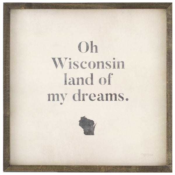 oh wisconsin | wood-framed sign
