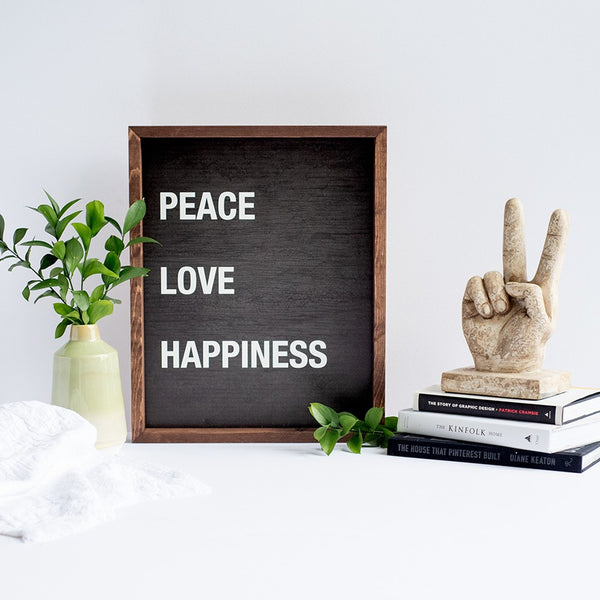 peace love happiness | wood-framed sign