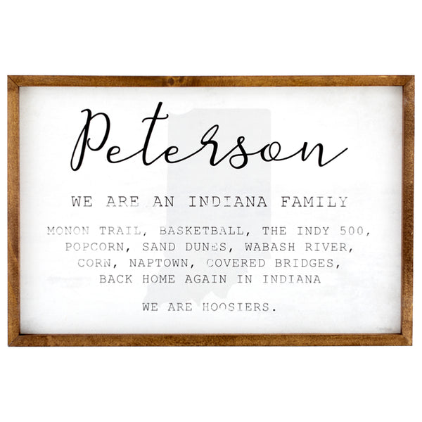 indiana family | personalized name sign