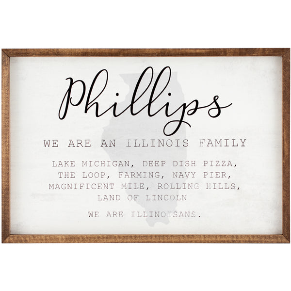 illinois family | personalized name sign