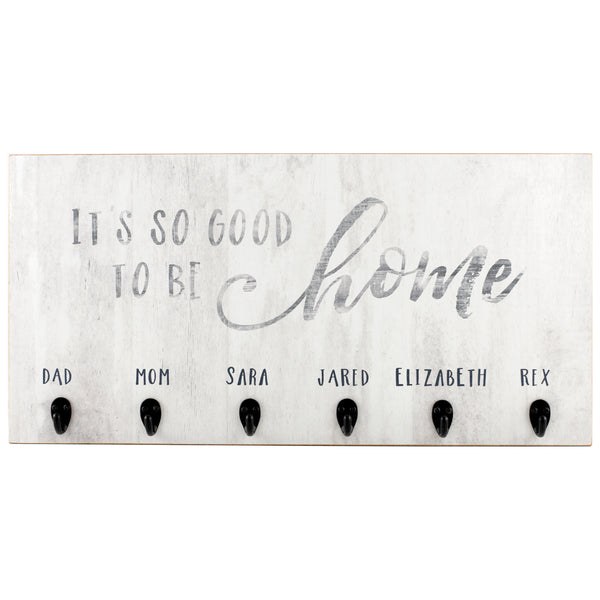 good to be home | personalized name plaque with key hooks