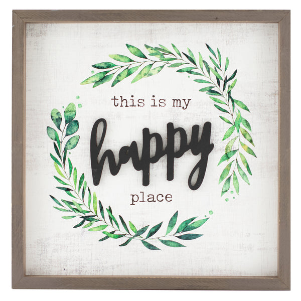 my happy place | wood-framed sign