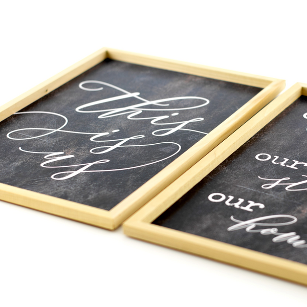 this is us | wood-framed sign set