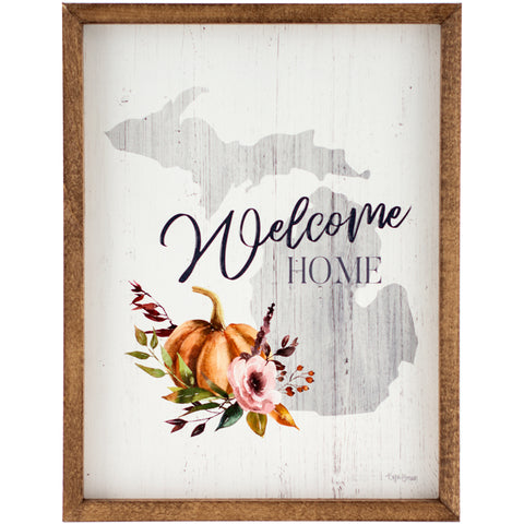 welcome home michigan | wood-framed sign