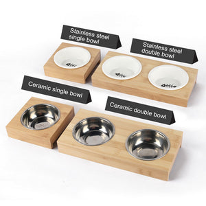 Stainless Steel Dog / Cat Bowl with Bamboo Frame