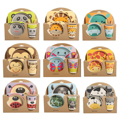 5PCS Natural Bamboo Kids Tableware Set