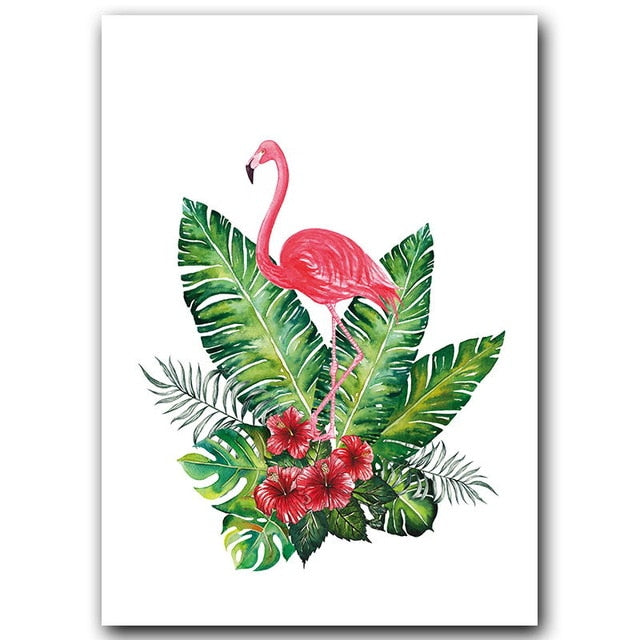 Minimalist Tropical Flamingo