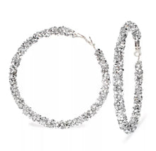 Load image into Gallery viewer, Silver glitter hoops
