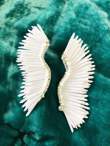 White wing earrings