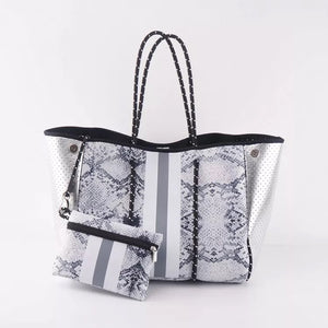 Silver snake tote