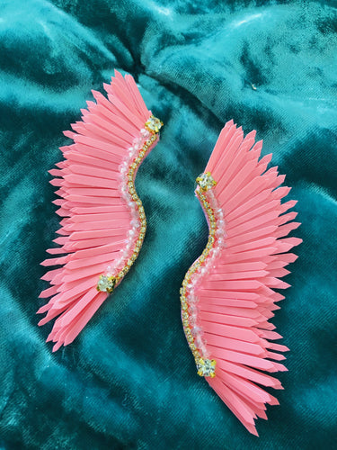 Pink wing earrings