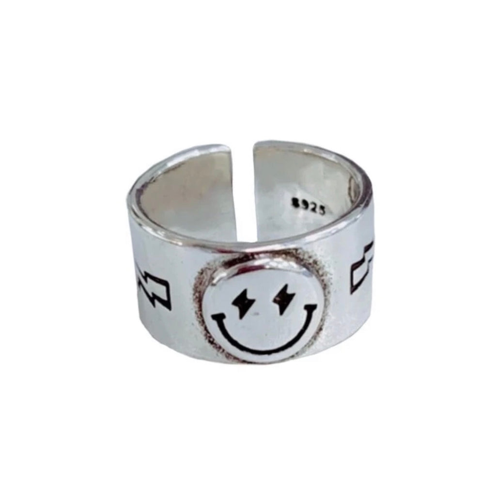 Silver smiley ring