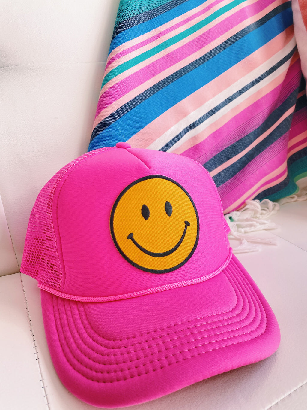 Pink smiley hat