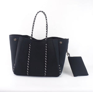 Black neoprene star tote