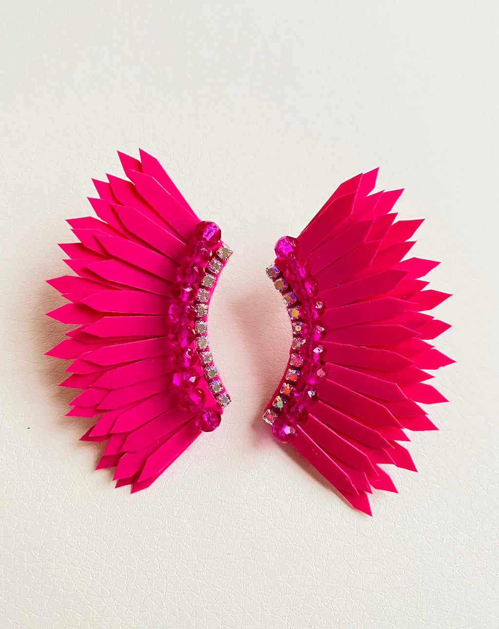 Hot pink wing earrings