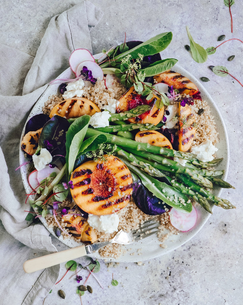 Grilled peach and quinoa salad