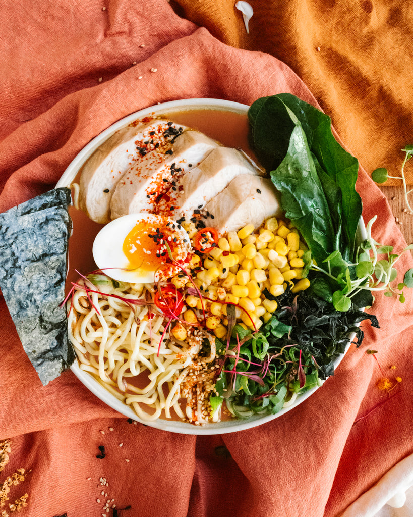 Spicy Chicken and Corn Ramen Bowl