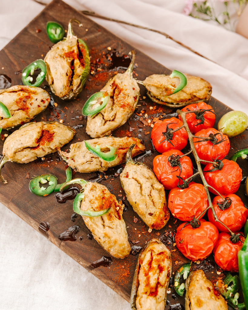 Smokey Cashew Cheese Jalapeno Poppers