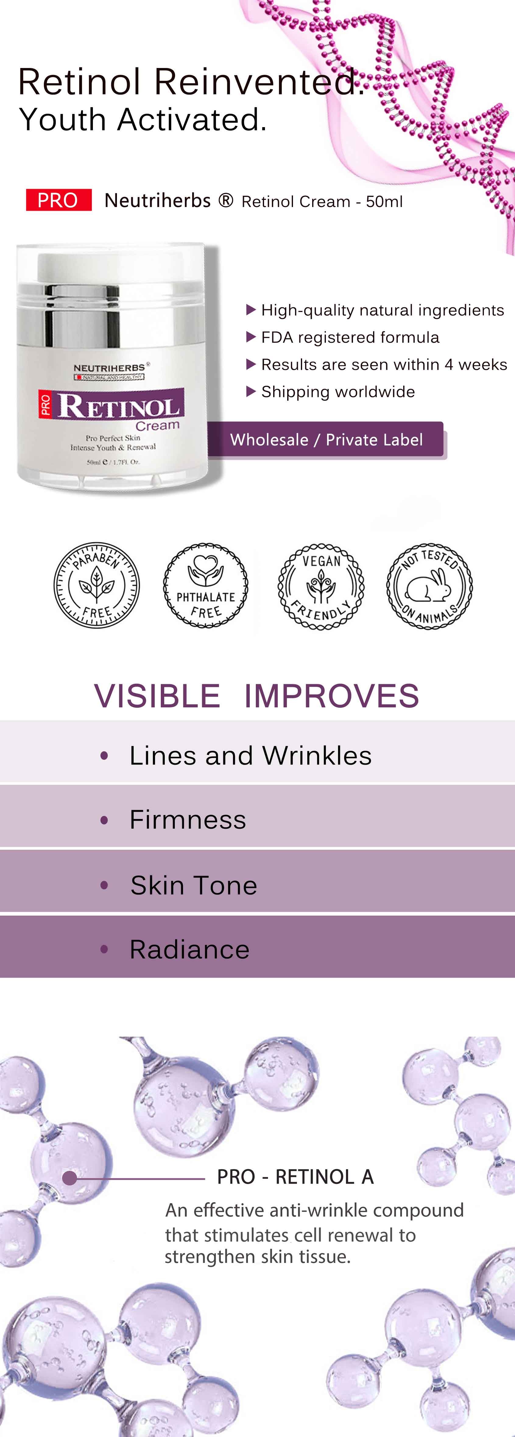 retinol cream anti aging anti wrinkle wholesale private label
