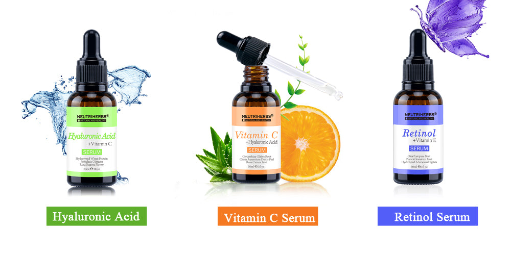 retinol serum-hyaluronic acid serum-vitamin c serum