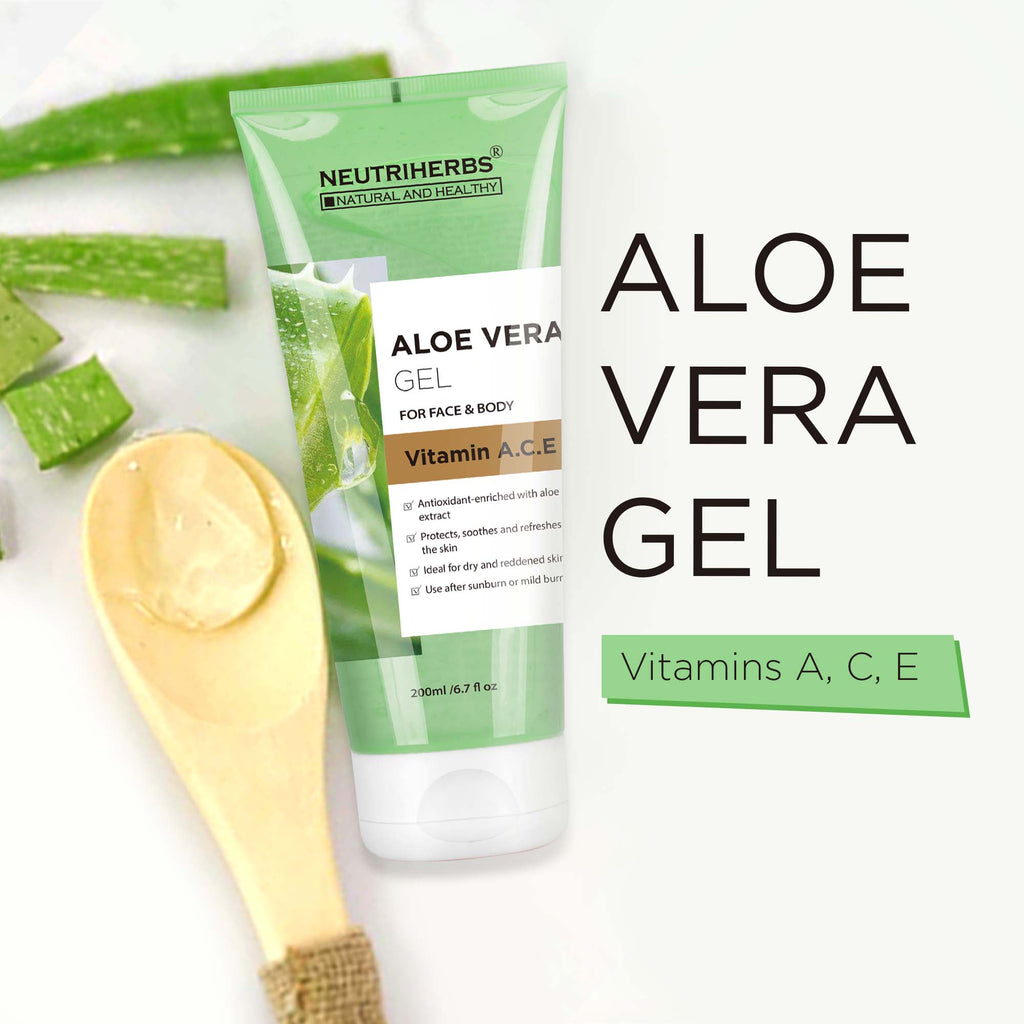 Neutriherbs Aloe Vera Gel with Vitamin A, C, E- replenishes moisture and softens skin