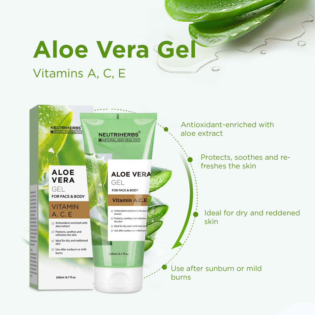 Neutriherbs Aloe Vera Gel with Vitamin A, C, E- non–oily formula absorbs quickly for easy application