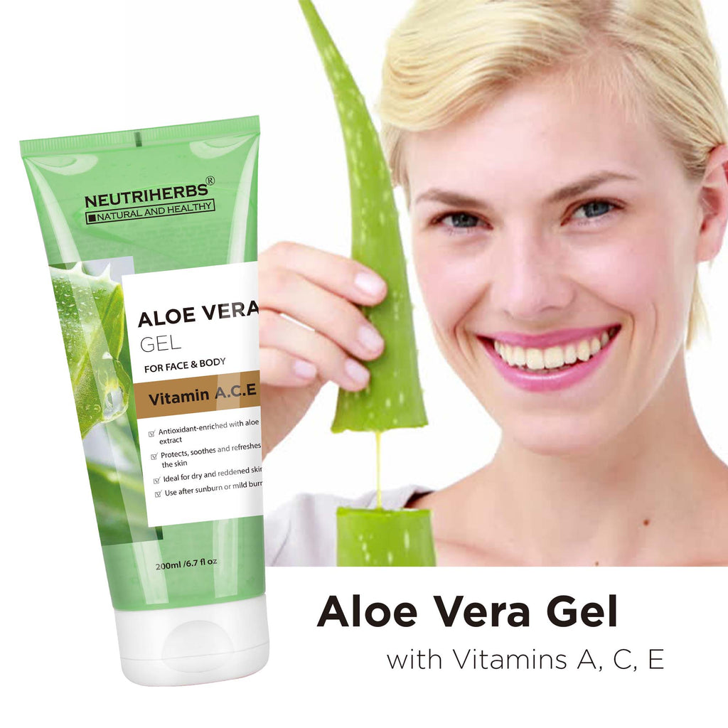 Neutriherbs Aloe Vera Gel with Vitamin A, C, E- relieve minor burns, insect bites, chafing and itching