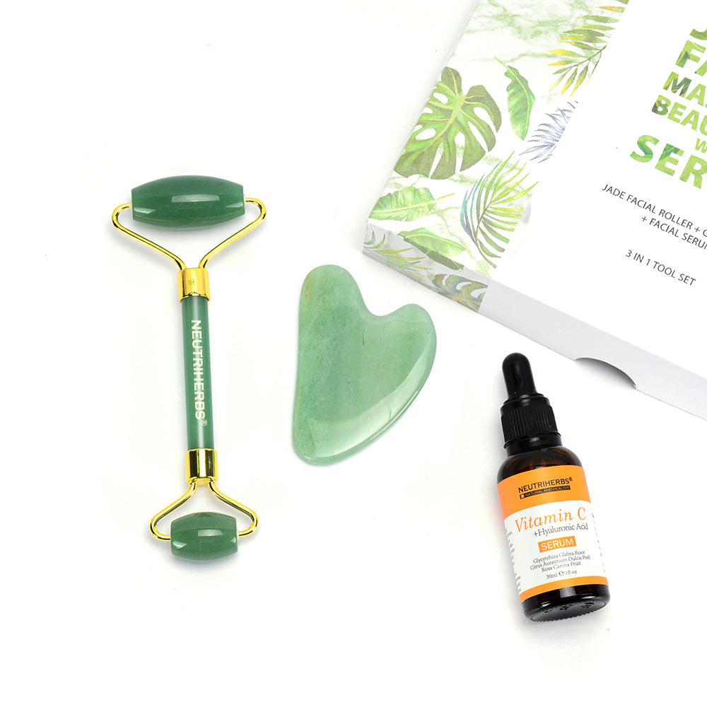 JADE FACIAL MASSAGER BEAUTY SET WITH SERUM
