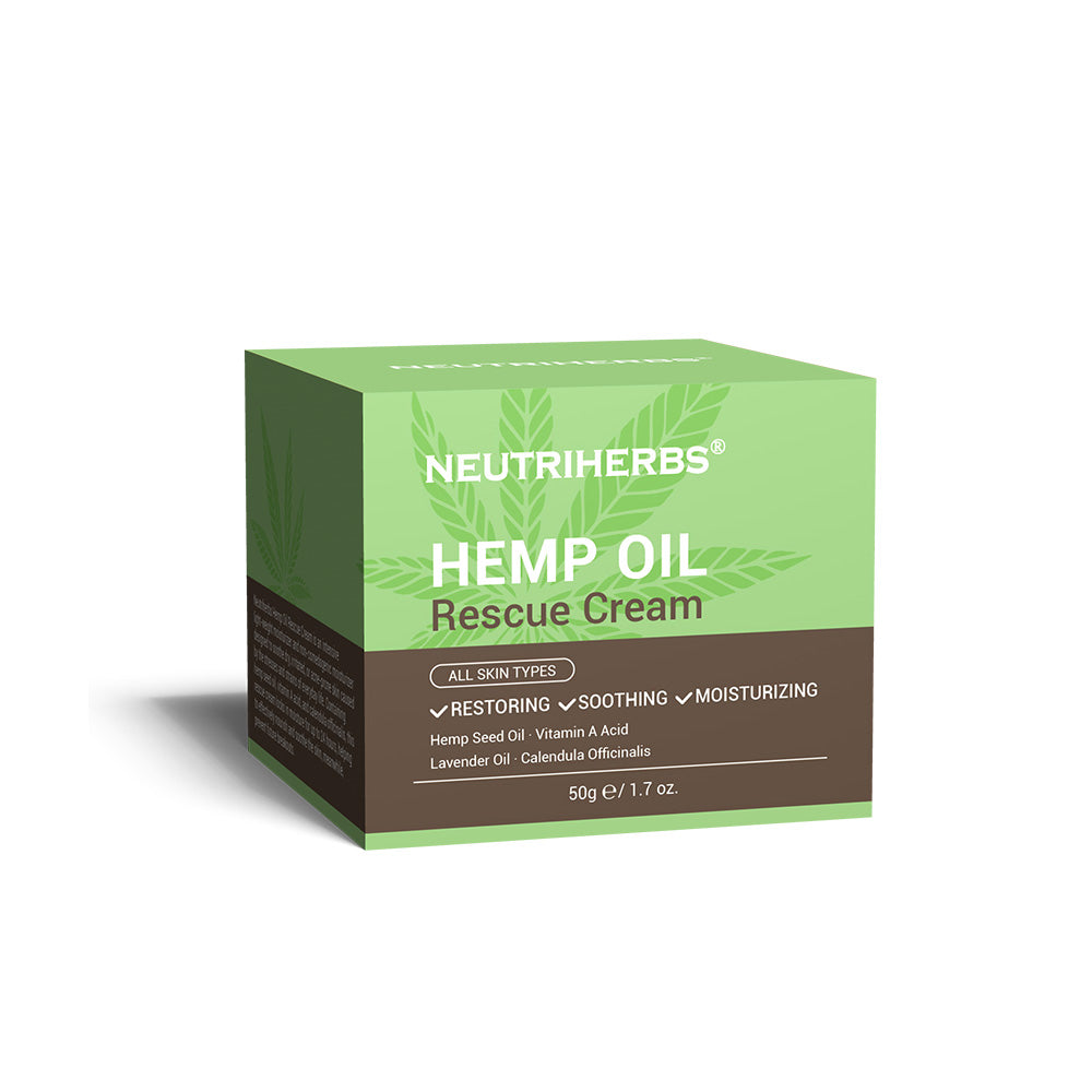 Neutriherbs Hemp Oil Rescue Cream contain hemp seed oil, vitamin A acid, and calendula officinalis