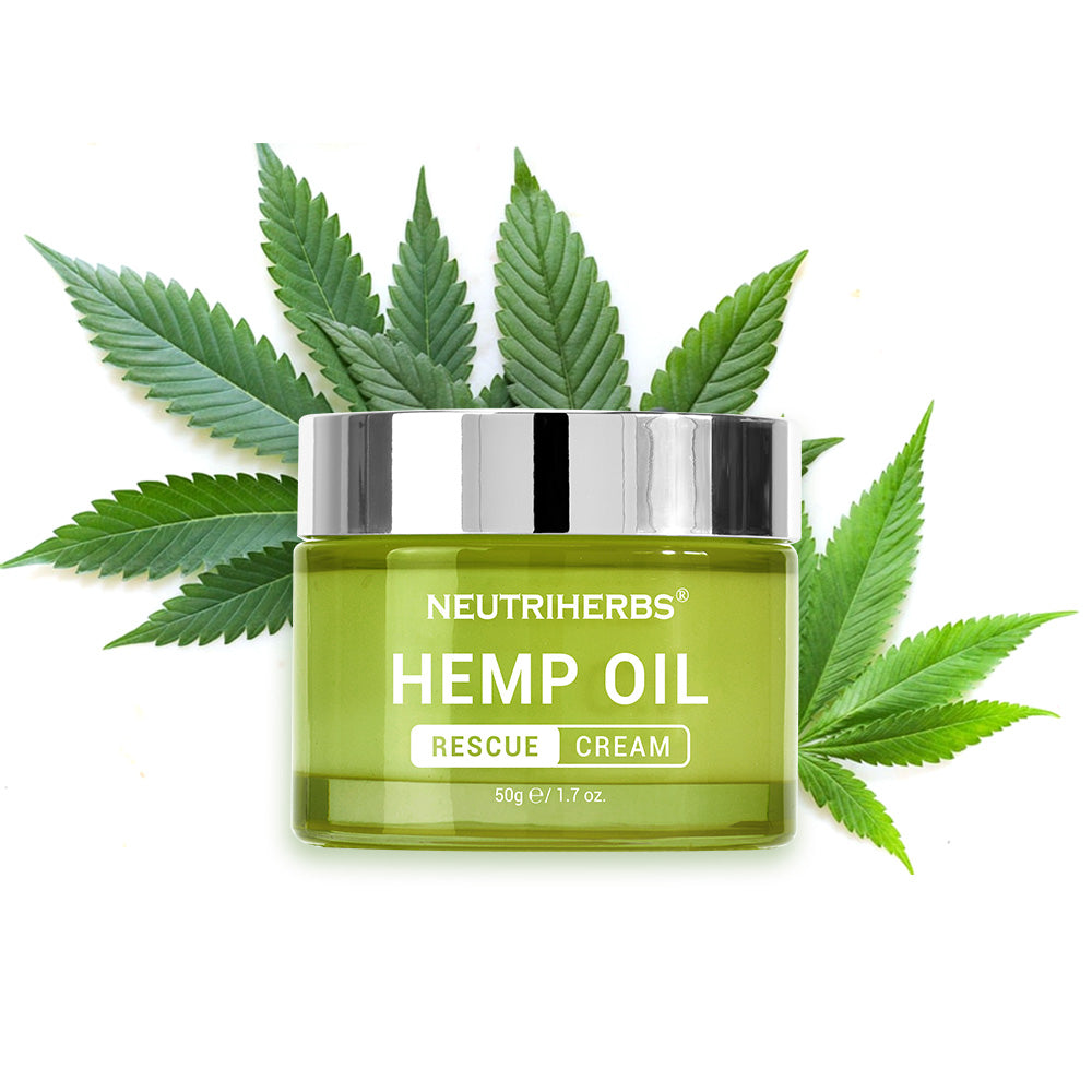 Neutriherbs Hemp Oil Rescue Cream designed to soothe dry, irritated, or acne prone skin