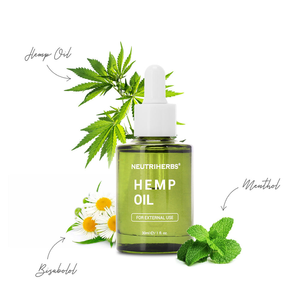 Neutriherbs Hemp Oil enrich with hemp seed oil, lavender oil, menthol, and bisabolol