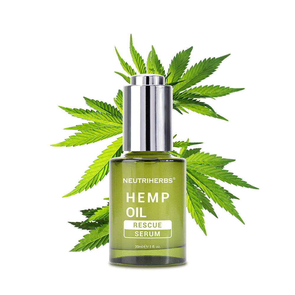 Neutriherbs Hemp oil Rescue Serum treatment contains hemp seed oil, portulaca oleracea extract, Vitamin A acid, and niacinamide