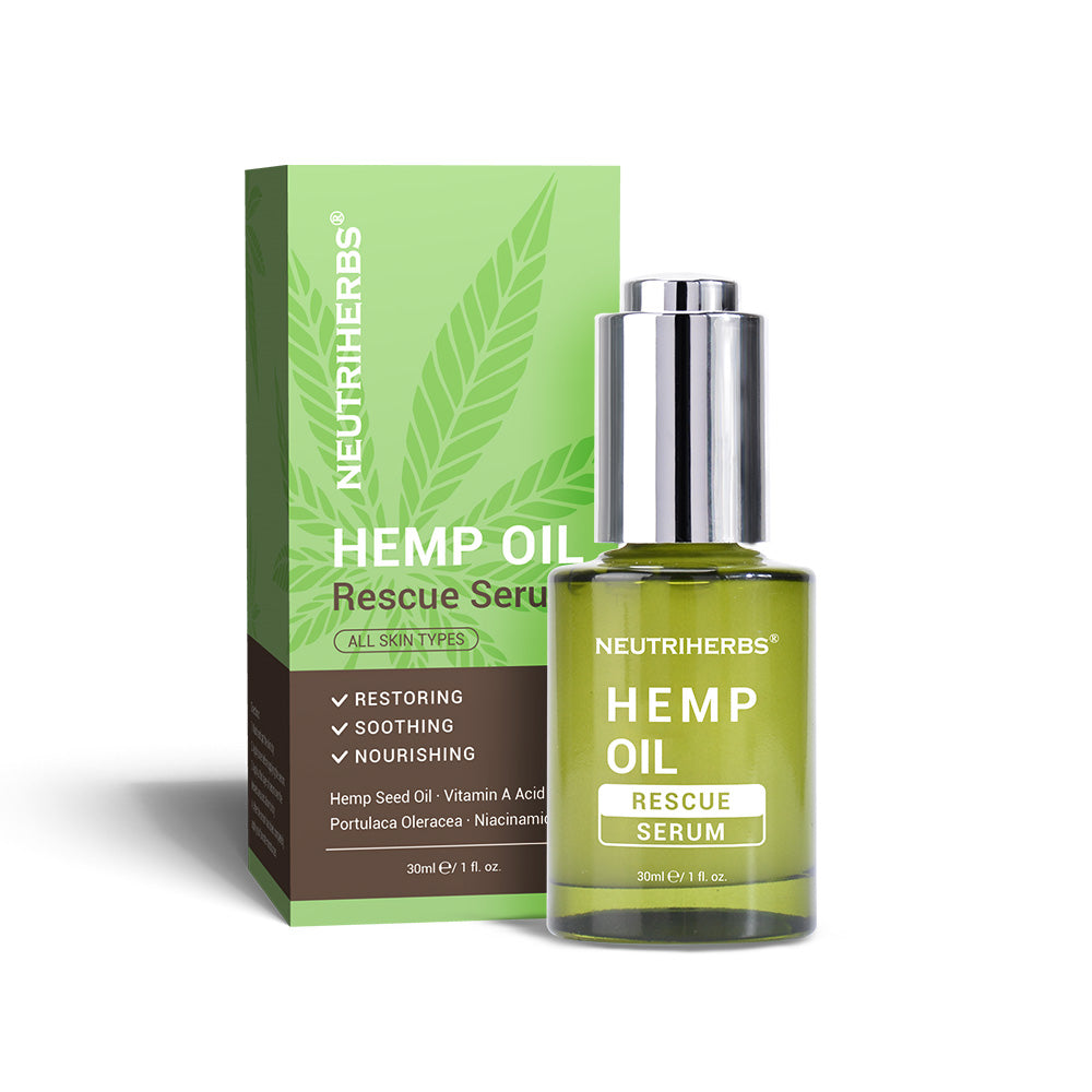 Neutriherbs Hemp oil Rescue Serum helps to purify clogged pores and prevent future breakouts while it soothes and calms the skin.