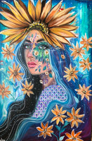 ' Olivia The Sunflower Goddess' Hand Signed Art Print