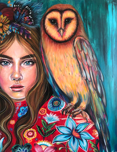 Zeta & The Sunset Owl -  Hand Signed Print