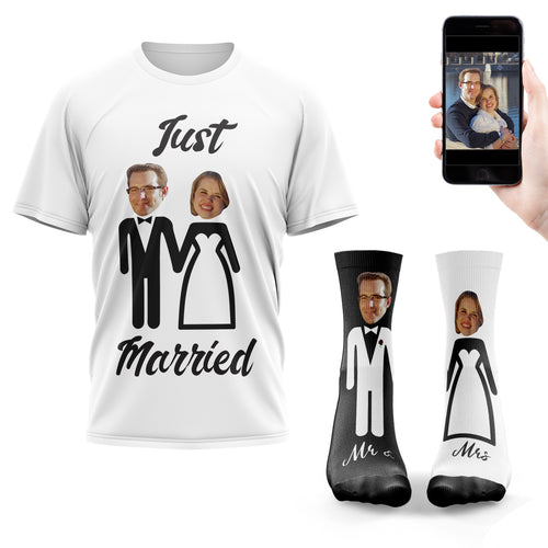Just Married T-Shirt & Sock Bundle