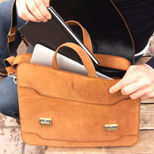 Load image into Gallery viewer, MIRDIF; Camel Leather Office Bag