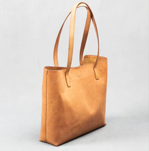YAS; Handmade Camel Leather Tote Bag