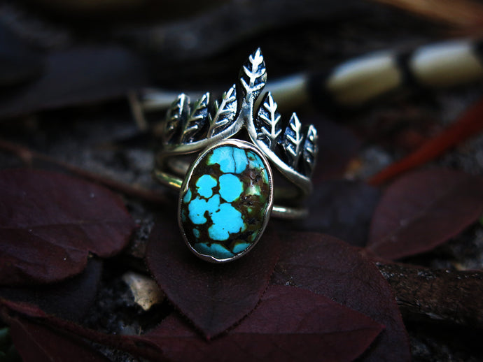 Size 8 Crown of Leaves Sterling Silver Ring