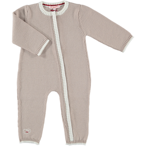 Merino Zip-Up Baby Daysuit - Biscuit