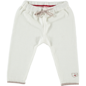 Merino Knitted Baby Leggings - White & Biscuit