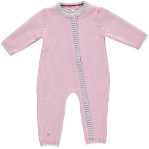 Merino Zip-Up Baby Daysuit - Rose